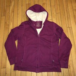 L. L. Bean Fleece Lined Full Zip Hoodie Women's M